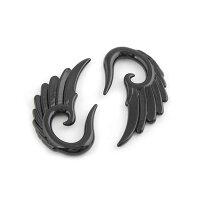[12G8G6G4G2G0G]ブラックアクリルウイングボディピアス1個販売メンズレディース黒色金属アレルギー対オプ12ゲージ8ゲージ6ゲージ4ゲージ2ゲージ0ゲージ拡張器インサーションテーパープラスチックプラスティック民族ボヘミアン翼羽ウイング