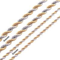 2mmゴールドミックスツイストロープステンレスチェーンステンレスネックレスサージカルステンレス316Lメンズレディースネックレスチェーンチョーカー綱のようおしゃれ長い短い細い2mmひねるスパイラルプレゼントギフト首飾りペアルック金色金メッキ