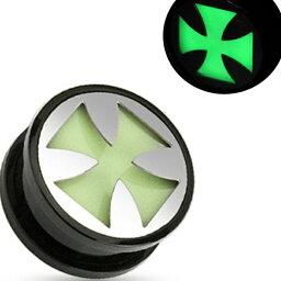 [ 25mm 光る アクリル ボディピアス ] グロウトンネル クロス 25ミリ 25.0mm 金属アレルギー対応 メンズ レディース 十字架 プラスティック 夜光 樹脂 プラスチック ネジタイプ ネジ式 黒い ブラック ハロウィン コスプレ おもしろ 面白い 拡張 耳 蓄光 1インチ