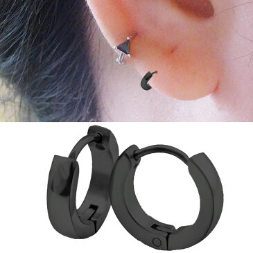 細くて小さいブラックシャドーフープピアス(2mmx9.5mm) 1個販売 スモール スリム 黒色 スタイリッシュ 18G 18ゲージ 耳 軟骨 リングピアス サージカルステンレス メンズ レディース ステンレスピアス ワンタッチリング シングルピアス 片耳用 低アレルギー