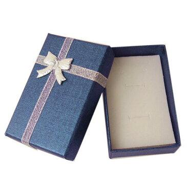 シルバーリボンブルーラッピングボックス 1個販売 青色 銀色 指輪 リング ネックレス チョーカー ペンダント ブレスレット バングル ピアス ボディピアス イヤリング 箱 収納 アクセサリー プレゼントケース ギフトボックス ショーケース コレクションボックス 告白 記念日