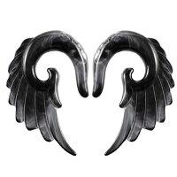 [8G6G4G2G0G00G12mmボディピアス]ブラックマーブルアクリルウイング1個販売メンズレディース黒色金属アレルギー対応8ゲージ6ゲージ4ゲージ2ゲージ0ゲージ00ゲージ12.0mm拡張器インサーションテーパー翼ウイング羽根天然石風白色ボディーピアス