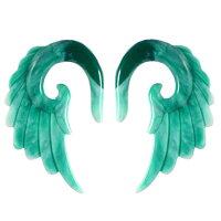 [8G6G4G2G0G00G12mmボディピアス]グリーンマーブルアクリルウイング1個販売メンズレディース緑色金属アレルギー対応8ゲージ6ゲージ4ゲージ2ゲージ0ゲージ00ゲージ12.0mm拡張器インサーションテーパー翼ウイング羽根天然石風ターコイズ風