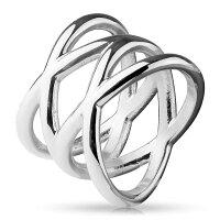 ダブルエックスステンレスリング(NRH003)サイズ/20号銀色シルバーワイド綺麗クロス透かし幅ありシンプルプレーン指輪サージカルステンレス316Lメンズレディースペアリングプレゼントギフト結婚婚約記念日誕生日ピンキーリングおしゃれ人気