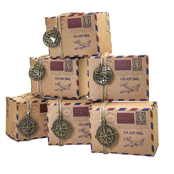 エアメールウエディングキャンディーボックス1個販売トラベル旅行手紙イベント結婚式アメクッキー手作りラッピング用品プレゼント包装披