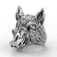 3Dリアル猪ステンレスリング(RBR072)サイズ/31号トアニマル動物イノシシ干支豚ぶたピッグ指輪サージカルステンレス316Lメンズレディースペアリングプレゼントギフト人気おしゃれ男の人女の人上品大人ピンキーリングゴツメハロウィーン