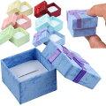 ブルーリボンラッピングボックス(53mmx53mmx38mm)1個販売クリーム色箱青色指輪リングネックレスチョーカーペンダントブレスレットピアスイヤリング小さい小物収納アクセサリーケースギフトボックスショーケース告白記念日ジュエリーサプライズ