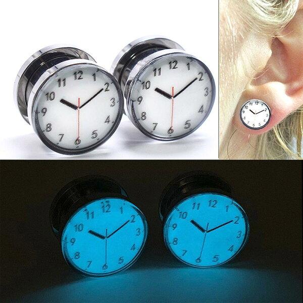 2G0G00G12mm光るボディピアス グロウ時計トンネルボディーピアス2ゲージ0ゲージ00ゲージ12.0mm12ミリハーフイ