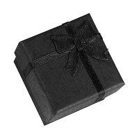 ブラックリボンラッピングボックス(5cmx8cm)1個販売黒色黒い指輪リングネックレスチョーカーペンダントブレスレットバングルピアス箱収納アクセサリープレゼントケースギフトボックスショーケース告白記念日ジュエリー男彼氏男性誕生日結婚