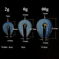 クラブハンドストーンプラグ2ゲージ2G0ゲージ0G00ゲージ00Gボディピアス天然石青色メンズレディース金属アレルギー対応石のボディーピアスパワーストーンヒーリングストーンオパールみたいな色合いC型フックタイプひっかけるタイプエスニック