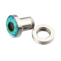 [2G0G00G12mm14mm青い眼玉ボディピアス]0ゲージ00ゲージ12.0mm14.0mmブルーアイズトンネル目玉サージカルステンレス316Lボディーピアスメンズレディース耳ホールピアスプラグネジタイプ埋め込みおもしろ面白いハロウィン金アレ