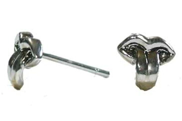 クレイジーリップシルバーピアス/1ペア 唇 口 舌 舌を出して挑発 ベロ おもしろ ユニーク 20G 20ゲージ シルバー925 スターリングシルバー メンズ レディース キャッチピアス オリジナル 高級 銀 軟骨 ヘリックス