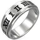 アトラススピンリング(JRP005)サイズ/15号 ローマ数字 ナンバー ステンレスリング 指輪 サージカルステンレス316L 低アレルギー メンズ レディース ペアリング プレゼント ギフト 結婚 婚約 記念日 誕生日 ピンキーリング