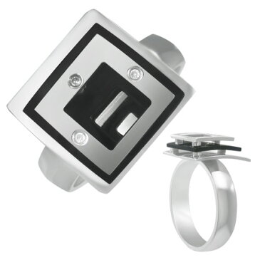 コンセントリックリング(ブラック)(LRC205)サイズ/21号 おもしろ ユニーク ブラック スクエア ステンレスリング 指輪 サージカルステンレス316L 低アレルギー メンズ レディース ペアリング プレゼント ギフト 結婚 婚約 記念日 誕生日 ピンキーリング