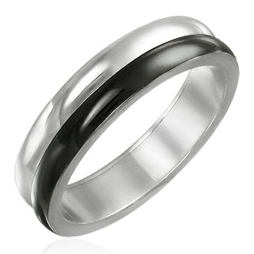 ツートンブラックステンレスリング(VRD031)サイズ/18号 ブラック シンプル黒色 指輪 サージカルステンレス316L メンズ レディース ペアリング プレゼント ギフト 結婚 婚約 記念日 誕生日 ピンキーリング ファランジリング