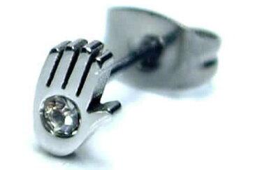 ジュエルハンドステンレスピアス 1個販売 20G 20ゲージ 耳 軟骨 メンズ レディース サージカルステンレス クリスタル ジルコニア キャッチピアス スタッドピアス シングルピアス 片耳用 低アレルギー セカンドピアス シルバー色 銀色 手 ユニーク 面白 おもしろ