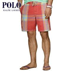 """ポロラルフローレン POLO RALPH LAUREN 正規品 メンズ スイムパンツ Plaid 8"""" East Hampton Trunk P08Apr16"""