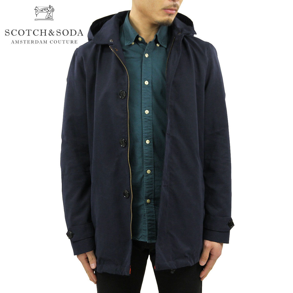 スコッチアンドソーダ SCOTCH&SODA 正規販売店 メンズ アウターコート Classic trench coat in peached cotton quality with detachable knitted inner 101350 8F:MIXON