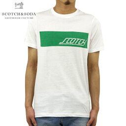 スコッチアンドソーダ Tシャツ メンズ 正規販売店 SCOTCH&SODA 半袖Tシャツ クルーネックTシャツ SPORTY LOGO ARTWORK CREWNECK TEE 149030 0006 WHITE
