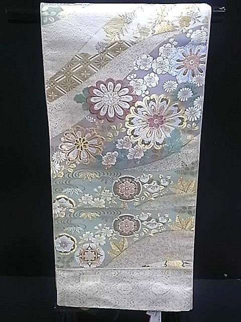 西陣正絹袋帯▲クリーム地に菊花柄▲no3:京の呉服屋・雅サロン