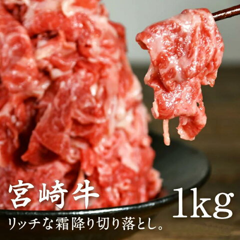 【送料無料】宮崎牛訳アリ切り落とし1kg旨味も格別なとろけるリッチな訳アリ霜降り切り落とし合計1kgでお届けとなります宮崎県産牛肉