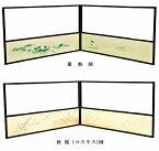 【茶道具・風炉先屏風】 原 在中 筆写 蓮池図 (裏 秋桜(コスモス)図) 腰風炉先