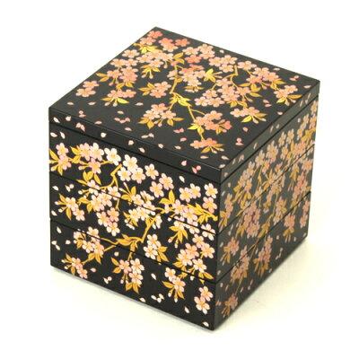 4寸 三段重箱 さくら(黒)