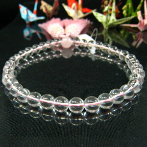 一輪紅水晶(ローズクォーツ・ローズクオーツ)7mm珠正絹ピンク房