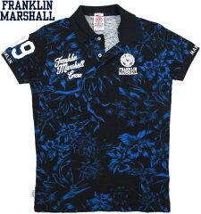 FRANKLIN&MARSHALL/フランクリンアンドマーシャルMEN'S SLIM FIT JERSEY POLO SHIRTボタニカル柄プリント半袖ポロシャツBLUEBLACK FLOWER(ブルーブラック・フラワー)/SKU#POMVA186S15