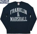 FRANKLIN&MARSHALL/フランクリンアンドマーシャル TSHIRT JERSEY ROUND NECK LONGアーチロゴ プリント長袖Tシャツ/カットソーNAVY(ネイビー)/TSMVA224XNW16