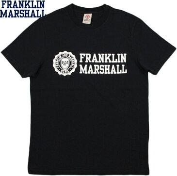 FRANKLIN&MARSHALL/フランクリンアンドマーシャルT-SHIRT JERSEY ROUND NECK SHORT エンブレムロゴプリントTシャツ BLACK(ブラック)/#TSMF356ANS18