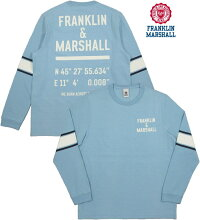 イタリア解釈の「アメリカンカレッジ&スポーツスタイル」と「リアルヴィンテージ」はますます健在★FRANKLIN&MARSHALL,フランクリンアンドマーシャル,TSHIRTJERSEYROUNDNECKLONG,プリント入り長袖Tシャツ,カットソー,#TSMF343ANS19,PASTELBLUE(パステルブルー)