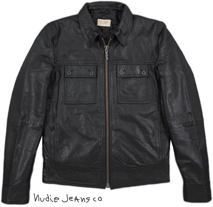 """Nudie Jeans co/ヌーディージーンズ""""HEATH"""" LEATHER JACKET ラムレザージャケット/襟付きレザージャケット BLACK(ブラック)"""