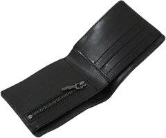 """使い込むほどに""""味""""がでる★エンボスロゴ入りウォレット。NudieJeansco,ヌーディージーンズ,CALLESSON,LEATHERWALLET,レザーウォレット,二つ折り財布,BLACK(ブラック)"""