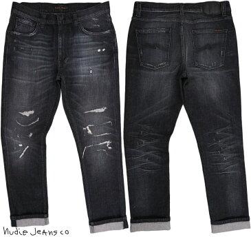 Nudie Jeans co/ヌーディージーンズ LEAN DEAN/リーンディーン SMASHING BLACK(シマシング ブラック) comfort stretch denimクラッシュ&リペア・ストレッチスキニーブラックデニムパンツ/ブラックジーンズ