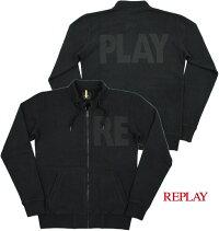 """モコモコ、ダボダボ感の無いスマートなデザインがウリ★気軽に羽織れる、リプレイの""""トラジャケ""""♪REPLAY,リプレイ,M6824,SWEATSHIRTWITHREPLAYPRINT,REPLAYロゴ入り・トラックジャケット,BLACK(ブラック)"""