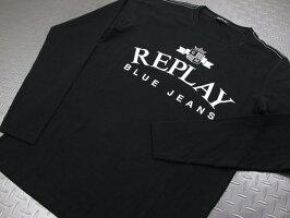 """圧倒的なクォリティの高さに要注目★""""ほどピタ""""シルエットが美しい、REPLAYの長袖プリントTEE,REPLAY,リプレイ,M3724,REPLAYBLUEJEANSLONG-SLEEVEDT-SHIRT,長袖プリントTシャツ,ロゴ入り長袖カットソー,BLACKBOARD(ブラック)"""