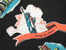 """ロックなテイストがshottらしい★スタイリッシュなハワイアンシャツ,Schott,ショット,#3195025,HAWAIIANSHIRT""""NEWYORKMAP"""",コットン×レーヨン混、半袖ハワイアンシャツ,アロハシャツ,BLACK(ブラック)"""