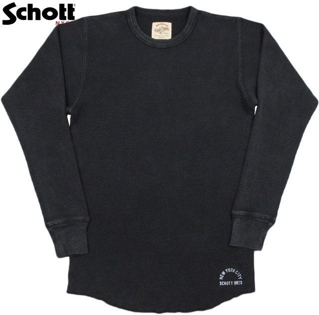 Schott/ショット THERMAL L/S T-SHIRT クルーネック長袖サーマルTシャツ/カットソー/ワッフルTEE Lot;3183075