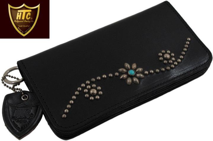 dc99525c7be5 HTC(HOLLYWOOD TRADING CO.)/エイチティーシー TYPE-1 LONG SB 13 ターコイズ入り、スタッズ ウォレット /ライダースウォレット/長財布 BLACK(ブラック) オリジナル・ ...