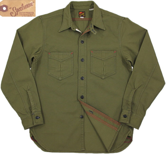 トップス, カジュアルシャツ MFSCMister FreedomSugar Cane Made in U.S.A. NOS OLIVE PIQUE SPORTSMAN RANGER SHIRT New Old Stock (NOS) 441 AOLIVE()SC27694
