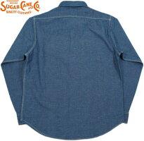 シンプルさとスマートさが、ウリ★デニム×無地シャツで、こなれた大人の洒落心を演出♪SUGARCANE,シュガーケーン,5oz.COTTON/LINEN75/25L/SWORKSHIRT,コットン×リネン、長袖ワークシャツ,麻混ワークシャツ,NAVY(ネイビー),SC27510
