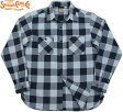 SUGAR CANE/シュガーケーンINDIGO BLOCK CHECK L/S WORK SHIRT インディゴ ブロックチェック長袖ワークシャツ OFF WHITE(オフホワイト×ネイビー)/SC27496