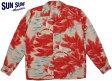 """SUN SURF/サンサーフ L/S RAYON ALOHA SHIRT""""RESTING CRANES ON PINE TREE"""" 和柄、長袖レーヨン・アロハシャツ/長袖ハワイアンシャツ RED(レッド)/SS27446"""