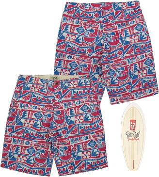 """SUN SURF/サンサーフ""""SURF SPOT""""by Masked Marvel C 85%/L 15% CANVAS SHORTSサーフスポット・マスクドマーベル、コットン×リネン キャンバスショーツ/ショートパンツRED(レッド)/SS51751"""