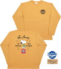"BUZZRICKSON'S×PEANUTS,バズリクソンズ×ピーナッツ,L/ST-SHIRT""GOARMY"",長袖スヌーピープリントTシャツ,GOLD(ゴールド),BR68840"