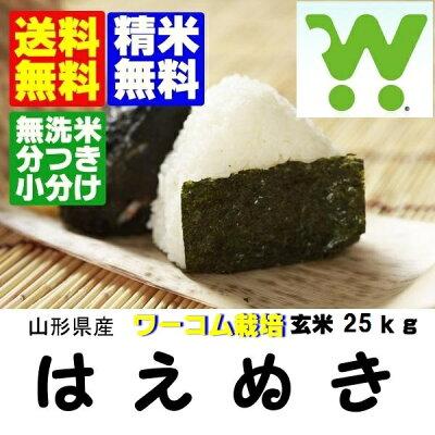 送料無料・無洗米・分搗き対応ワーコム栽培米はえぬき玄米30K
