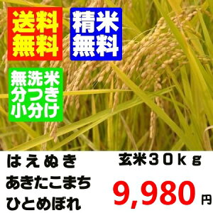 【送料無料】【玄米 30kg】玄米か精米でのお届けとなりますはえぬき・あきたこまち・ひとめぼ...
