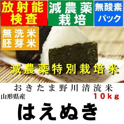 送料無料・無洗米・分搗き対応特別栽培米はえぬき玄米10K