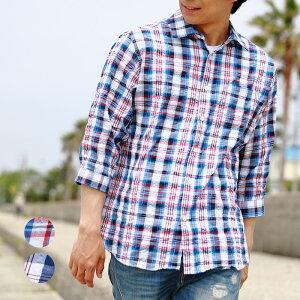 7分袖シャツ メンズ チェック柄 サッカー生地 春夏 M L XL 2色 カジュアル トップス 薄手 清涼感 【CERONIAS(セロニアス)】 ブルー レッド